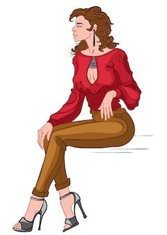 Brunette sexy en chemisier rouge, pantalon marron et talons hauts gris posant en position assise