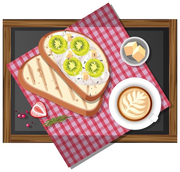 Bruschetta avec une tasse de café sur un plateau en bois isolé