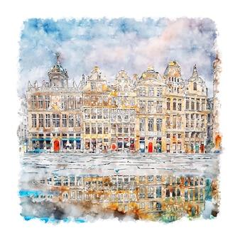 Bruxelles belgique aquarelle croquis illustration dessinée à la main