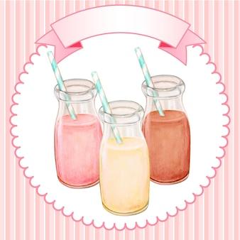 Bttles de lait aromatisé aquarelle mignon