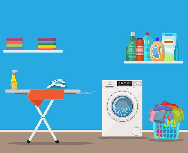 Buanderie avec lave-linge,