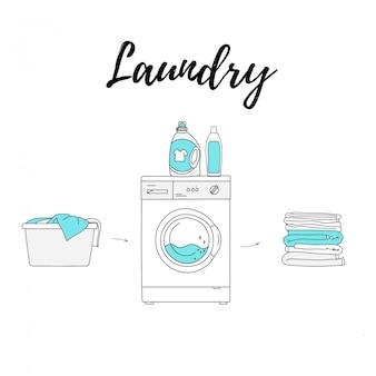 Buanderie. panier, machine à laver et détergents, serviettes propres pliées.