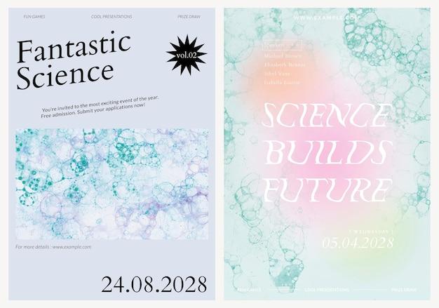 Bubble art science template vecteur événement esthétique affiches publicitaires double ensemble