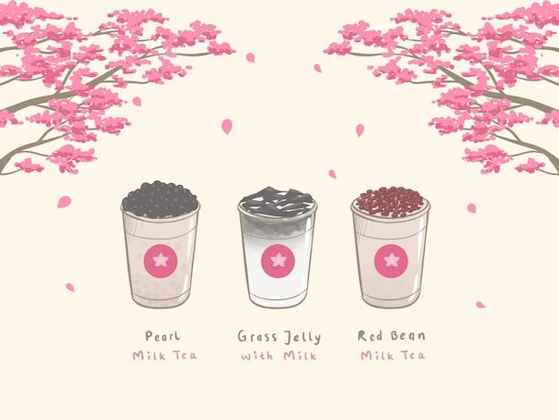 Bubble milk tea dessiné à la main