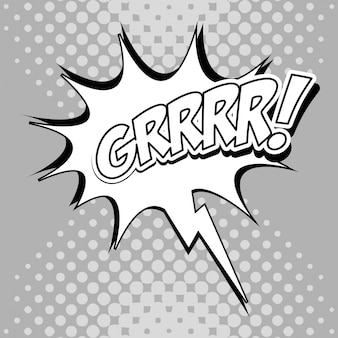 Bubble pop art de l'icône grrrr. comic communication rétro et thème d'expression