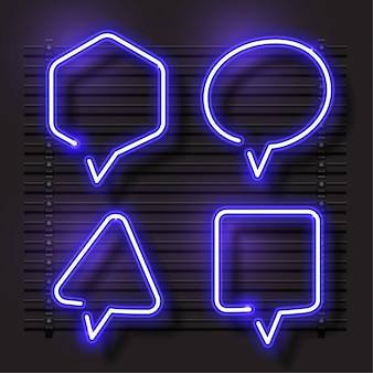 Bubble talk jeu de bannière de vecteur de néon. modèle de conception bleue.