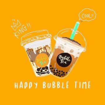 Bubble tea, bannière de style doodle au thé au lait perlé.