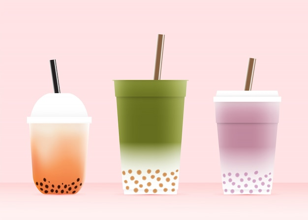 Bubble tea avec divers verres en illustration vectorielle schéma de couleurs pastel