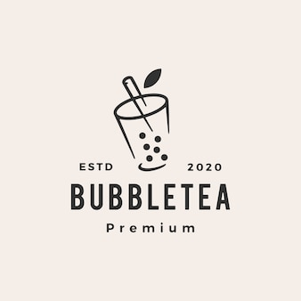 Bubble tea hipster logo vintage icône illustration