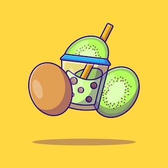 Bubble tea et kiwidessin animé