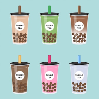 Bubble tea ou thé au lait perlé set vector illustration