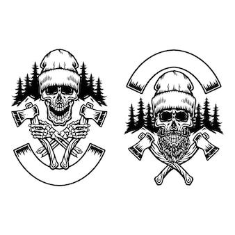 Bûcheron avec deux axes, illustration de dessin au trait dessinés à la main