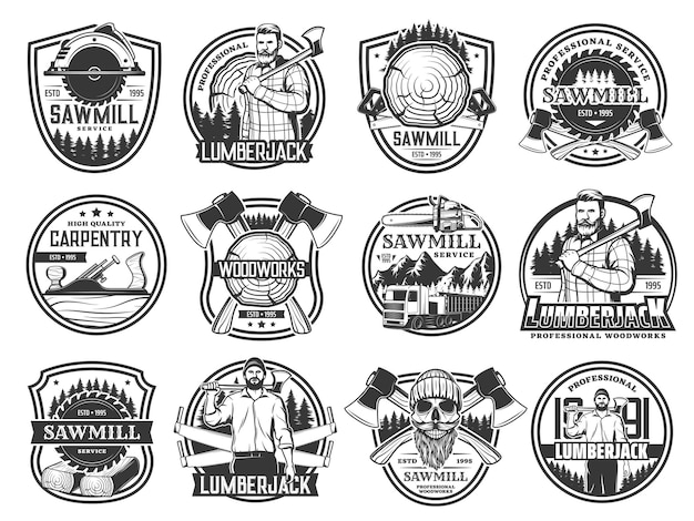 Bûcheron, exploitation forestière et foresterie forestière, crâne au chapeau. boiserie de bûcheron et emblèmes de service de scierie avec haches croisées de bûcheron, camions forestiers et avion de menuisier