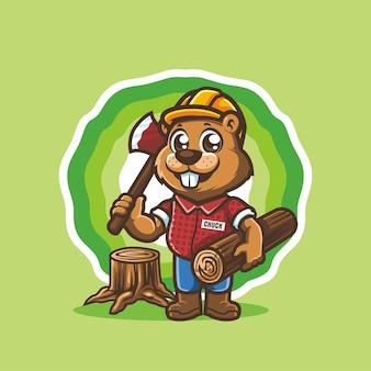 Bûcheron de marmotte castor debout tenant le vecteur de mascotte de personnage de dessin animé de bois et de hache