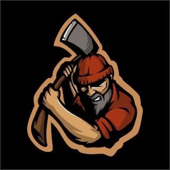 Bûcheron avec son logo e sport et sa hache