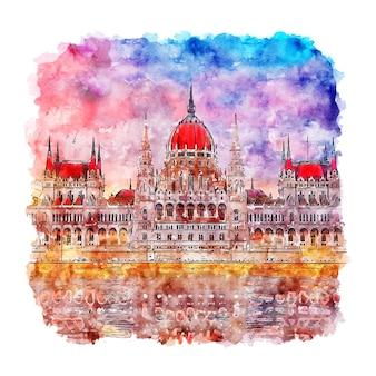 Budapest hongrie aquarelle croquis illustration dessinée à la main