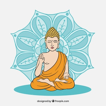 Budha dessiné à la main avec un style coloré