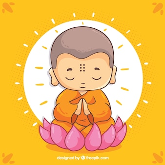 Budha dessiné main avec visage souriant