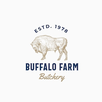 Buffalo farm butchery résumé signe, symbole ou modèle de logo.