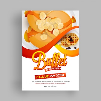 Buffet flyer ou design de menu avec offre de réduction.