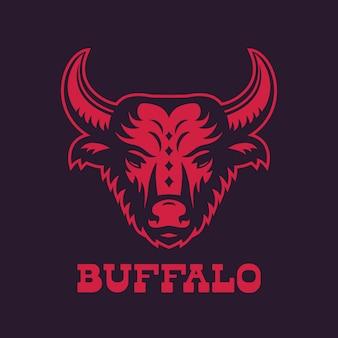 Buffle, élément de logo tête de taureau, rouge sur foncé