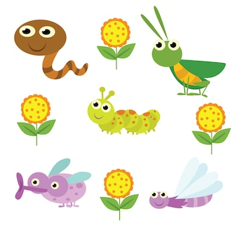 Bug de dessin animé mignon et personnage d'insecte