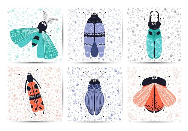 Bugs de dessin animé mignon, coléoptères, cartes vectorielles