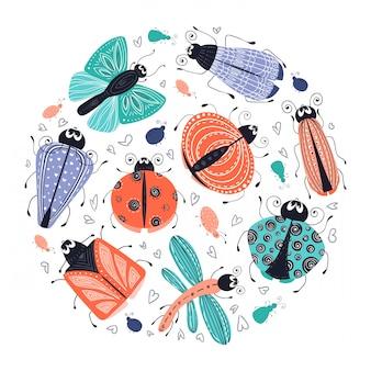 Bugs de dessin animé mignon, coléoptères, set vector