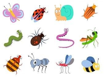 Bugs mignons et drôles, collection de vecteurs insectes