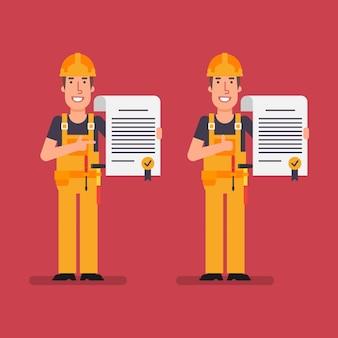 Builder détient des points de contrat et montre les pouces vers le haut. les travailleurs. illustration vectorielle.