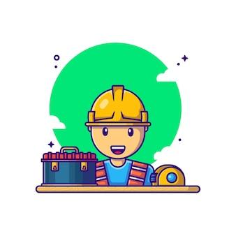 Builder avec illustration de dessin animé de boîte à outils. concept de fête du travail blanc isolé. style de bande dessinée plat