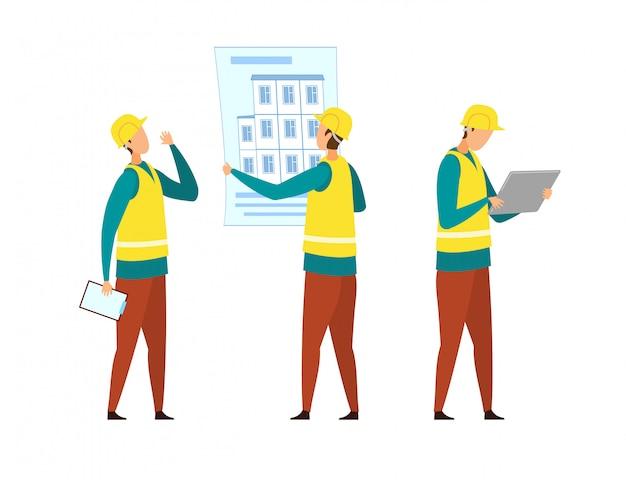 Builders in yellow vests set de personnages de dessins animés