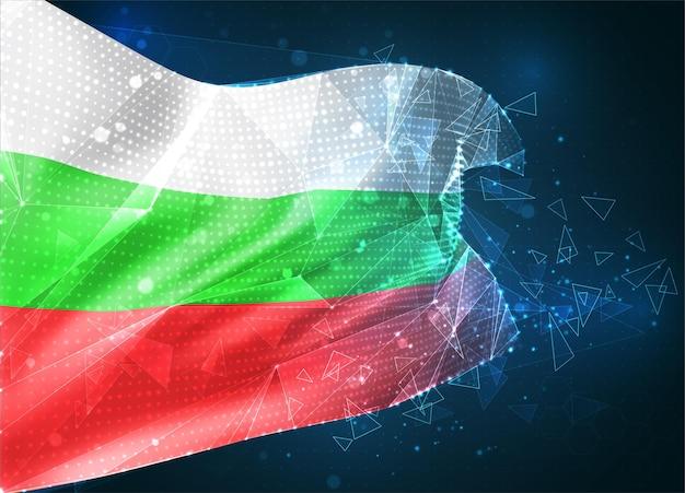 Bulgarie , drapeau vectoriel, objet 3d abstrait virtuel à partir de polygones triangulaires sur fond bleu