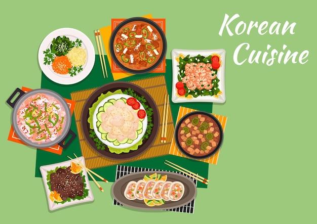 Bulgogi de bœuf de cuisine coréenne servi avec salade de légumes marinés et soupe de kimchi épicée, salade de pétoncles, crevettes frites aux épinards, soupe de fruits de mer, calamars farcis et soupe de tofu au porc