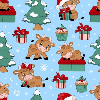 Bull and christmas tree nouvel an cartoon holiday hand drawn seamless pattern