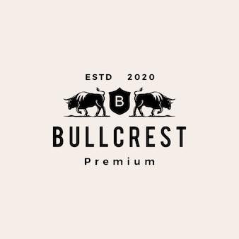 Bull blason hipster logo vintage icône illustration