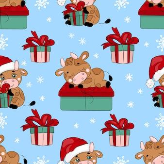 Bull et cadeau nouvel an joyeux noël dessin animé vacances modèle sans couture dessiné à la main
