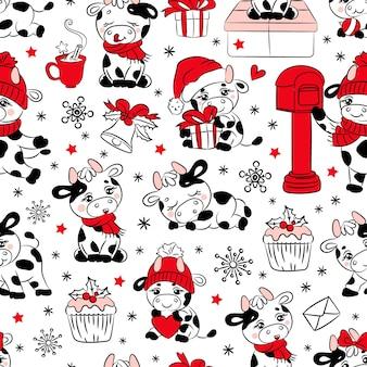 Bull christmas 2021 nouvel an joyeux noël dessin animé vacances dessiné à la main modèle sans couture blanc animal mignon