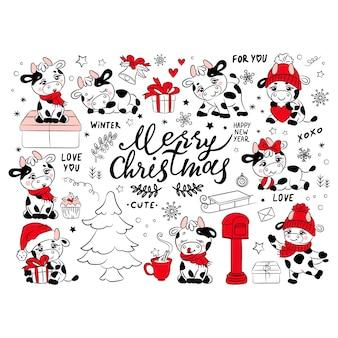 Bull christmas collection nouvel an joyeux noël mignon animal dessin animé vacances vacances hiver dessiné à la main clip art ensemble