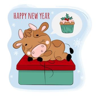 Bull dreaming a christmas cupcake. illustration de dessin animé de nouvel an joyeux noël