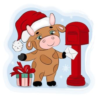 Bull envoie un mail de noël. nouvel an joyeux noël dessin animé illustration dessinée à la main