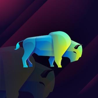 Bull logo illustration style coloré dégradé de taureau