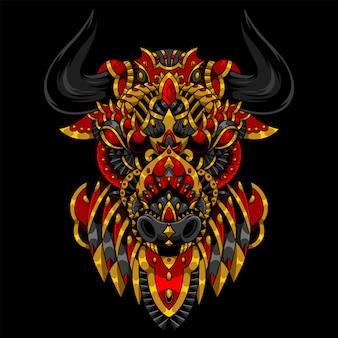 Bull mandala zentangle illustration et conception de tshirt