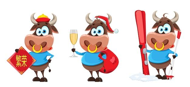 Bull, le symbole du nouvel an chinois. le lettrage se traduit par la prospérité
