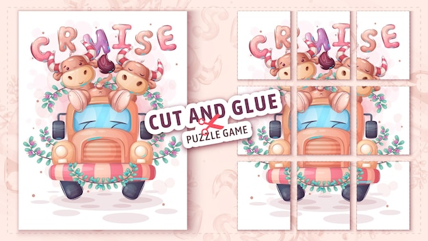 Bull travel cut and glue puzzle game