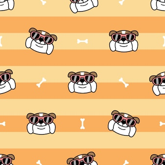 Bulldog anglais mignon avec modèle sans couture de dessin animé de lunettes de soleil