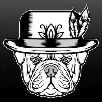 Bulldog avec chapeau isolé sur fond noir