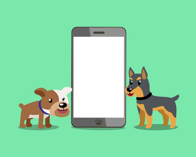Bulldog et chien doberman avec smartphone