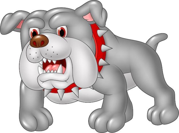 Bulldog en colère de dessin animé isolé sur fond blanc