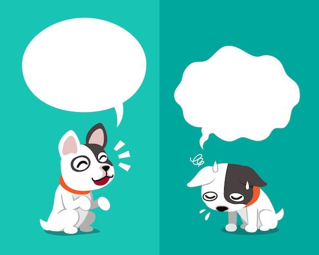 Bulldog français exprimant différentes émotions
